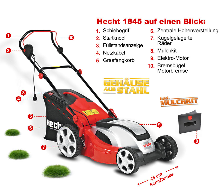 hecht 1845 elektro rasenm her elektrom her 46cm 1000 m 1800 watt turbo motor ebay. Black Bedroom Furniture Sets. Home Design Ideas