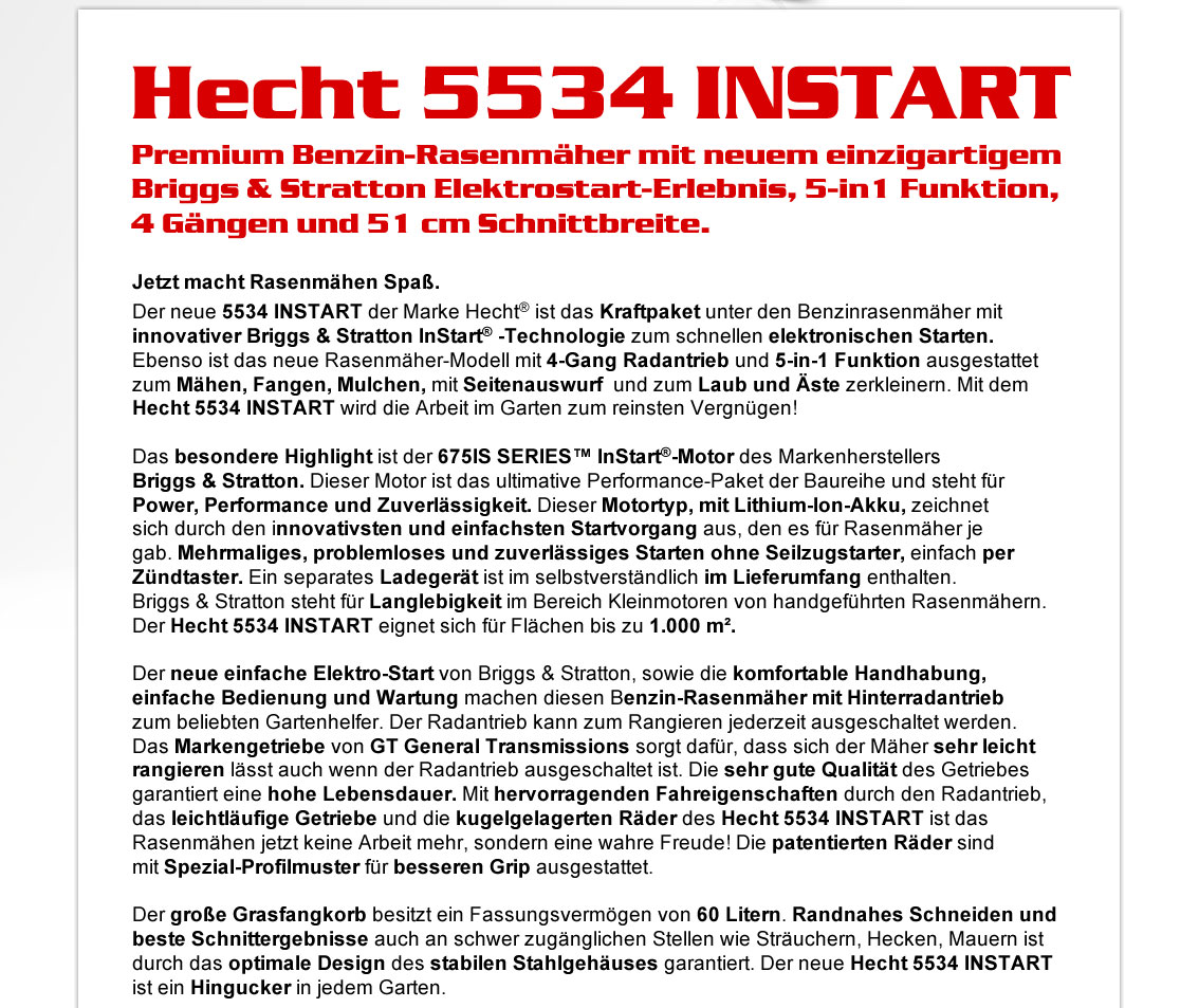 hecht 5534 instart benzin rasenm her mit elektrostart 4 g nge briggs stratton ebay. Black Bedroom Furniture Sets. Home Design Ideas