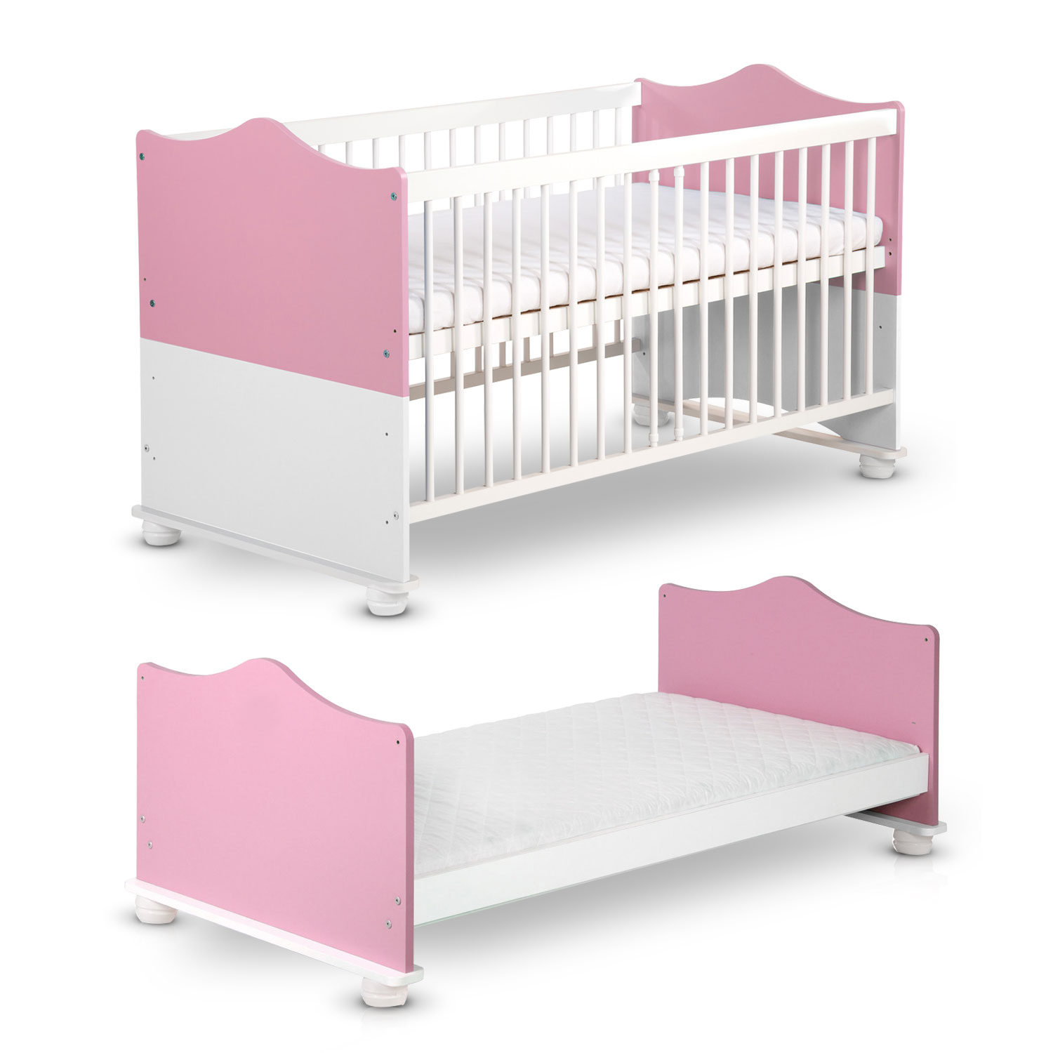 prinzessin babybett 140x70 umbaubar zum juniorbett kinderbett baby bett ebay. Black Bedroom Furniture Sets. Home Design Ideas