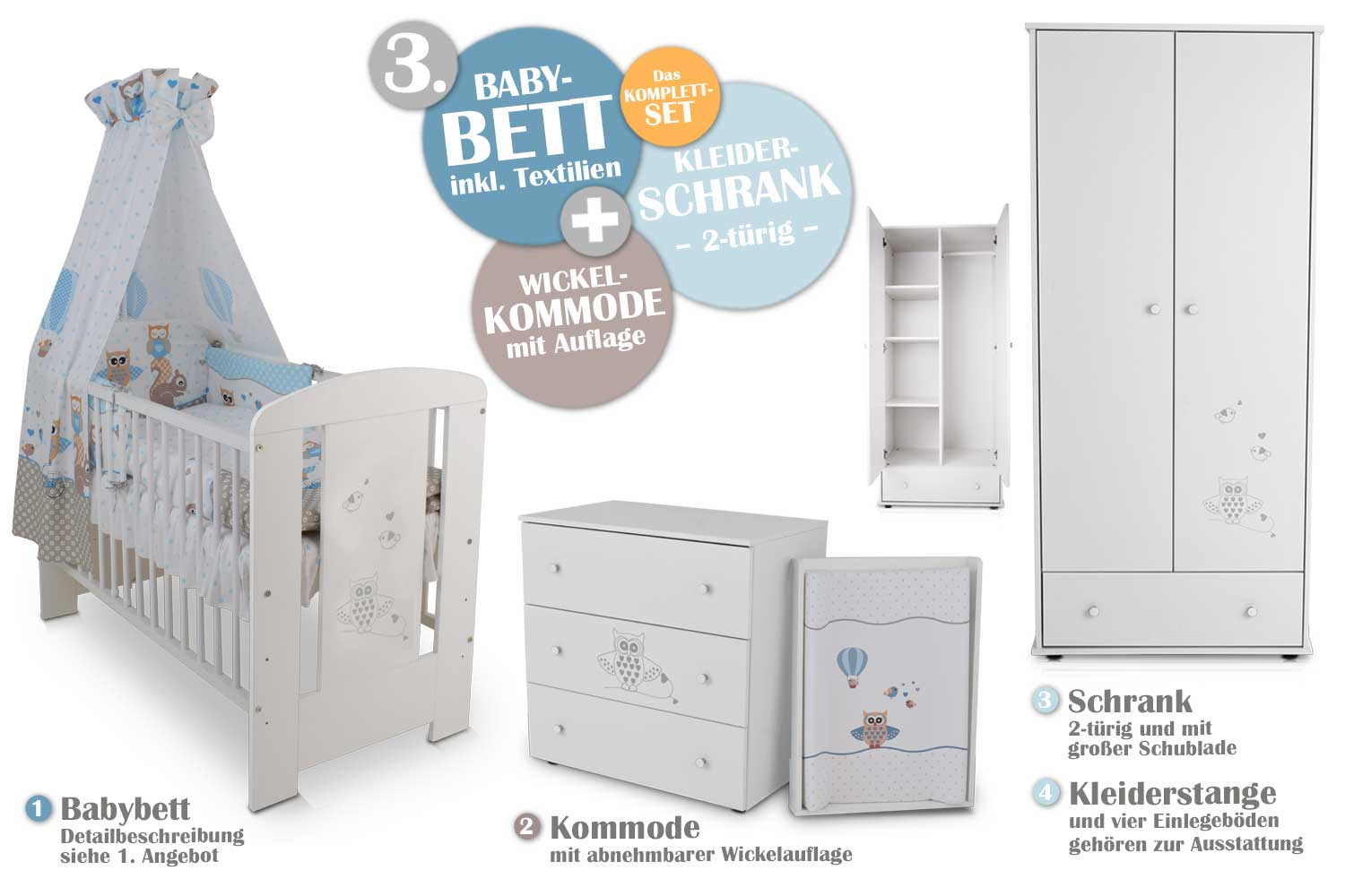 babyzimmer eule blau babybett kinderbett wickelkommode schrank babyzimmer ebay. Black Bedroom Furniture Sets. Home Design Ideas