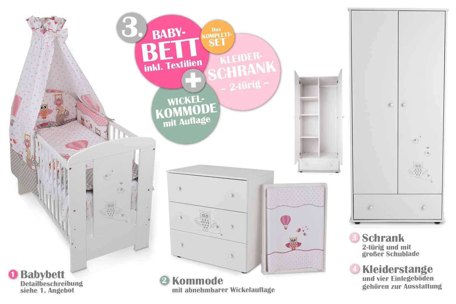 babyzimmer eule rosa babybett kinderbett wickelkommode schrank babyzimmer ebay. Black Bedroom Furniture Sets. Home Design Ideas