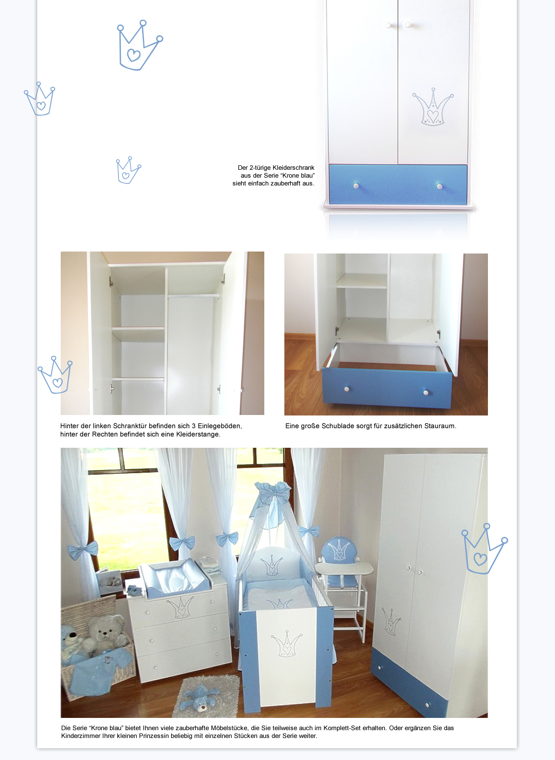 krone blau schrank f r babyzimmer schrank krone blau kleiderschrank ebay. Black Bedroom Furniture Sets. Home Design Ideas